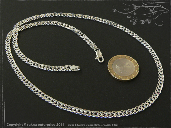 Twin curb chains 925 sterling silver width 4,5mm  massiv