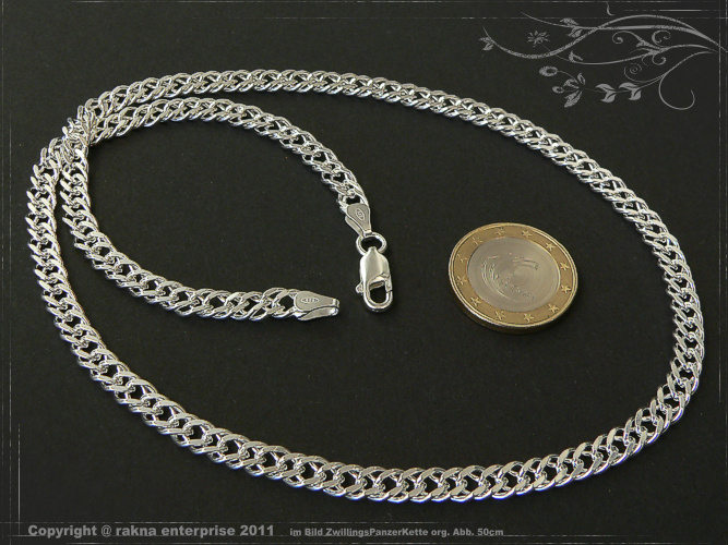 Twin curb chains 925 sterling silver width 5,5mm  massiv